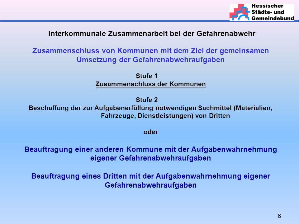 6 Interkommunale Zusammenarbeit bei der Gefahrenabwehr Zusammenschluss von Kommunen mit dem Ziel der gemeinsamen Umsetzung der Gefahrenabwehraufgaben