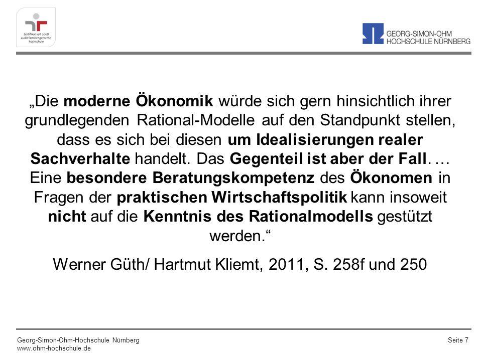 Behaviroal Economics - Lehren für Geld- und Währungspolitik Georg-Simon-Ohm-Hochschule Nürnberg www.ohm-hochschule.de Seite 78