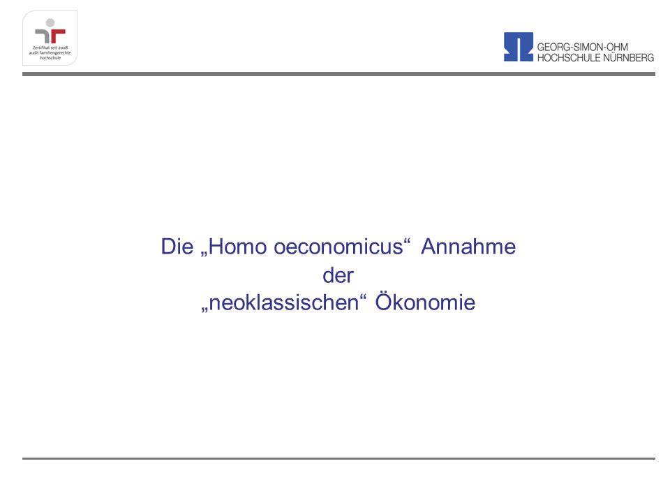 Ein Homo oeconomicus ist ein Konstrukt (Annahme/Fiktion), das vollkommen rational denkt, absolut willensstark (zeitkonsistent) ist und rein egoistisch seinen Nutzen/ Gewinn maximiert.