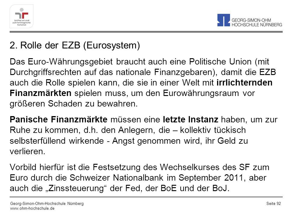 2. Rolle der EZB (Eurosystem) Das Euro-Währungsgebiet braucht auch eine Politische Union (mit Durchgriffsrechten auf das nationale Finanzgebaren), dam