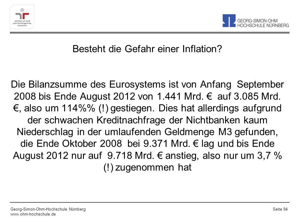Besteht die Gefahr einer Inflation? Die Bilanzsumme des Eurosystems ist von Anfang September 2008 bis Ende August 2012 von 1.441 Mrd. auf 3.085 Mrd.,