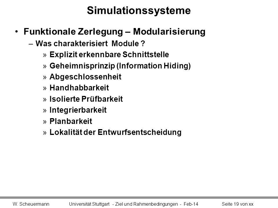 Simulationssysteme Funktionale Zerlegung – Modularisierung –Was charakterisiert Module ? »Explizit erkennbare Schnittstelle »Geheimnisprinzip (Informa