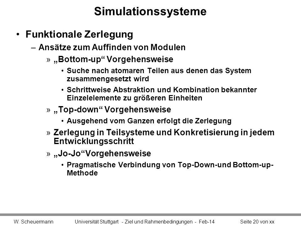 Simulationssysteme Funktionale Zerlegung –Ansätze zum Auffinden von Modulen »Bottom-up Vorgehensweise Suche nach atomaren Teilen aus denen das System