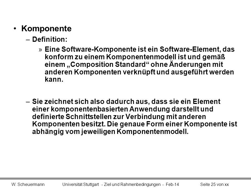 Komponente –Definition: »Eine Software-Komponente ist ein Software-Element, das konform zu einem Komponentenmodell ist und gemäß einem Composition Sta