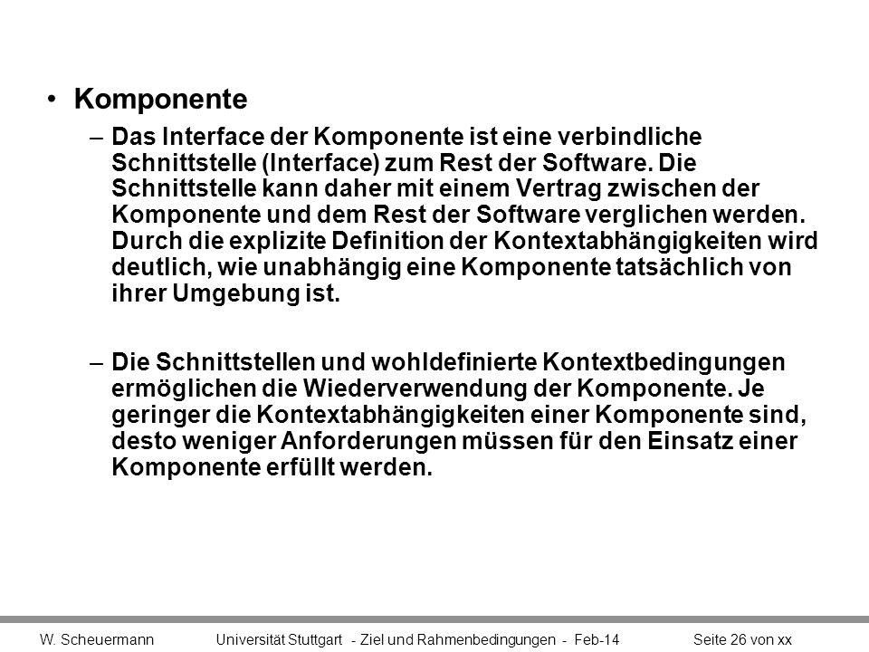 Komponente –Das Interface der Komponente ist eine verbindliche Schnittstelle (Interface) zum Rest der Software. Die Schnittstelle kann daher mit einem