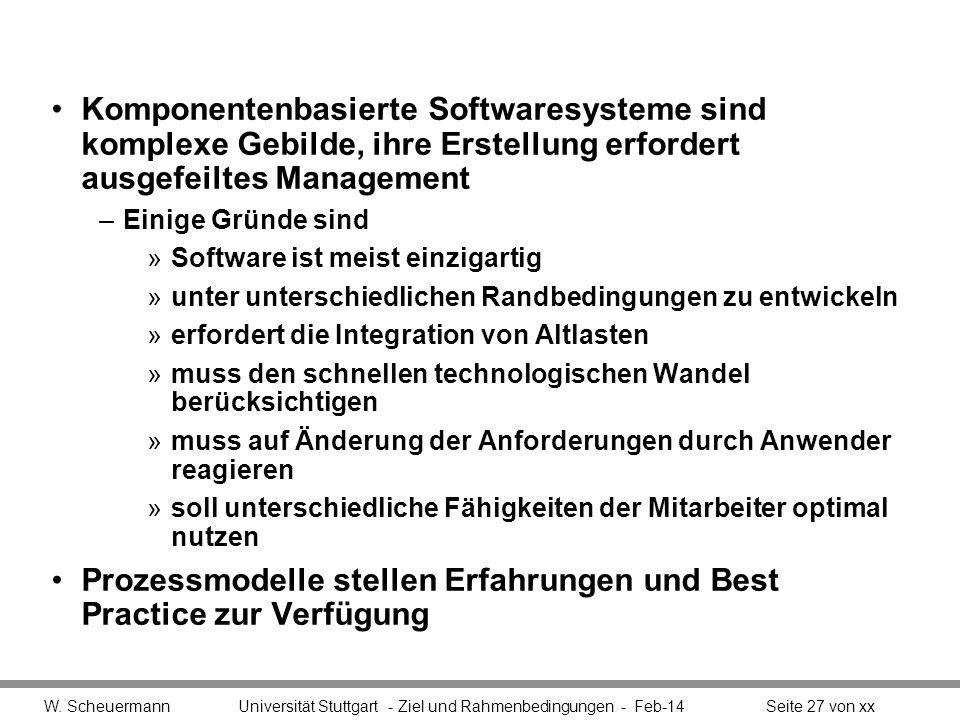 Komponentenbasierte Softwaresysteme sind komplexe Gebilde, ihre Erstellung erfordert ausgefeiltes Management –Einige Gründe sind »Software ist meist e