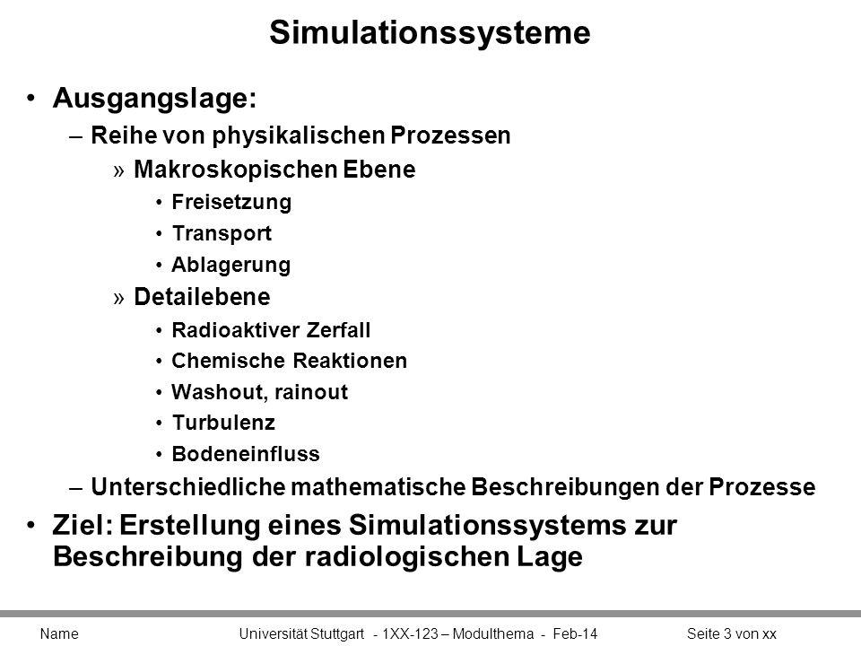 Simulationssysteme Ausgangslage: –Reihe von physikalischen Prozessen »Makroskopischen Ebene Freisetzung Transport Ablagerung »Detailebene Radioaktiver
