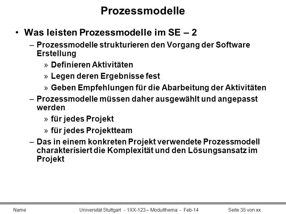 Prozessmodelle Was leisten Prozessmodelle im SE – 2 –Prozessmodelle strukturieren den Vorgang der Software Erstellung »Definieren Aktivitäten »Legen d