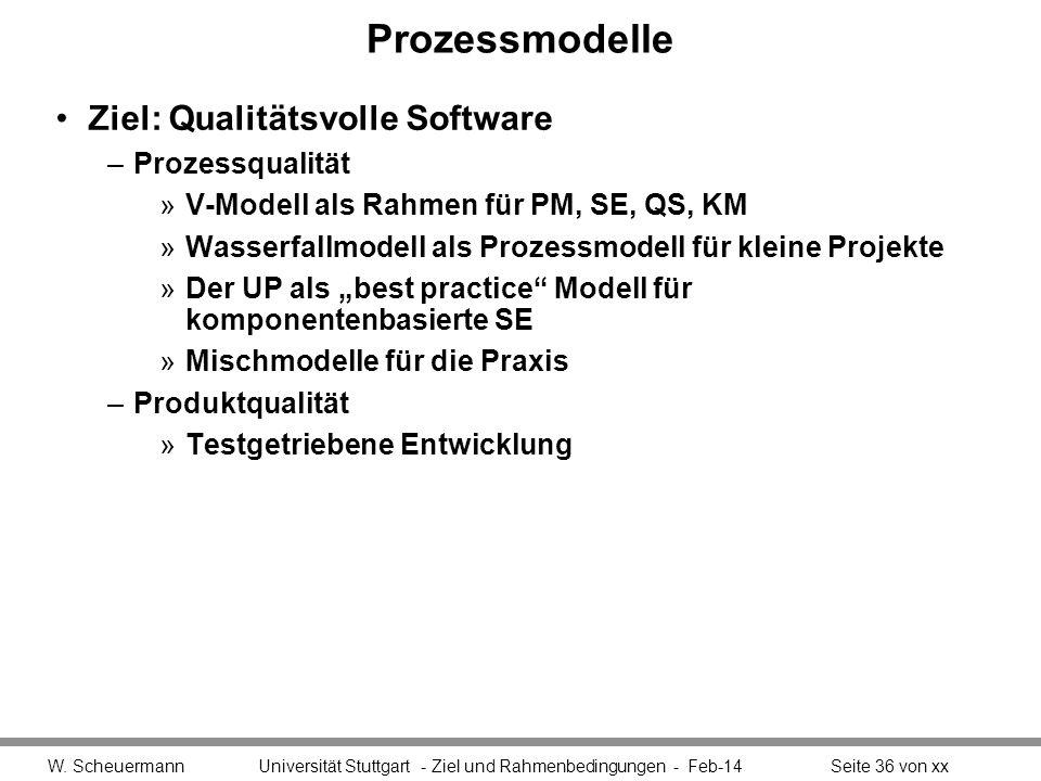 Prozessmodelle Ziel: Qualitätsvolle Software –Prozessqualität »V-Modell als Rahmen für PM, SE, QS, KM »Wasserfallmodell als Prozessmodell für kleine P