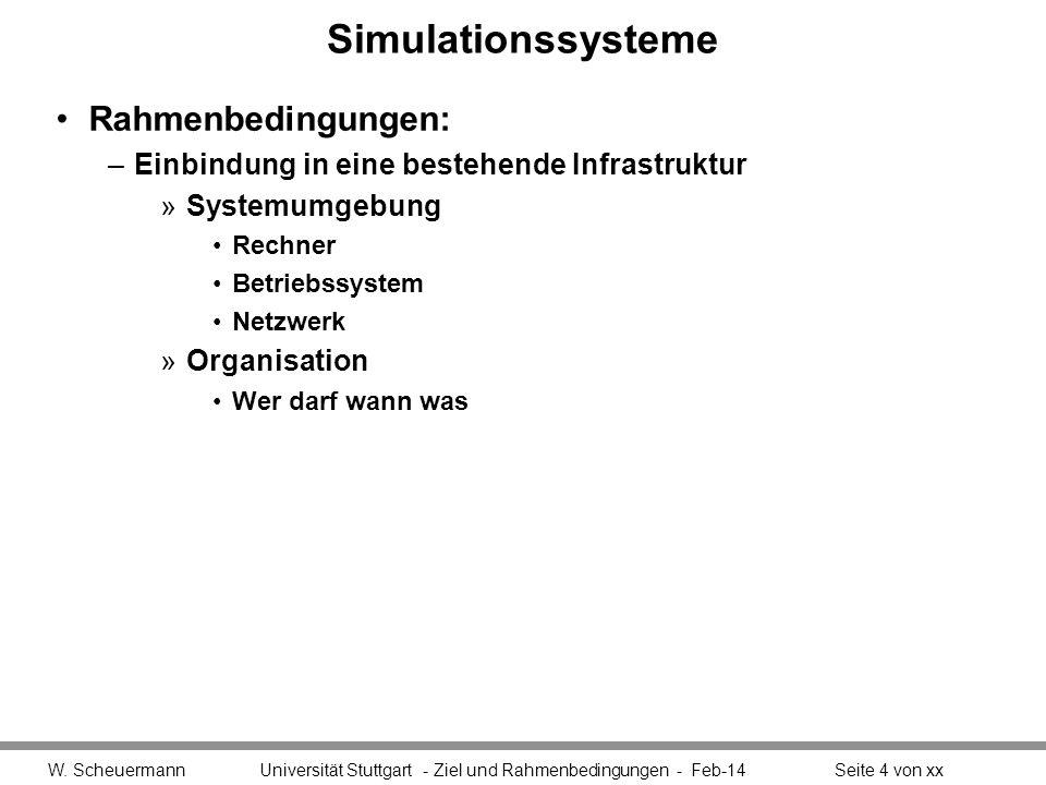 Simulationssysteme Rahmenbedingungen: –Einbindung in eine bestehende Infrastruktur »Systemumgebung Rechner Betriebssystem Netzwerk »Organisation Wer d