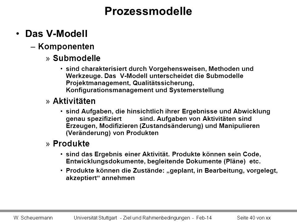 Prozessmodelle Das V-Modell –Komponenten »Submodelle sind charakterisiert durch Vorgehensweisen, Methoden und Werkzeuge. Das V-Modell unterscheidet di