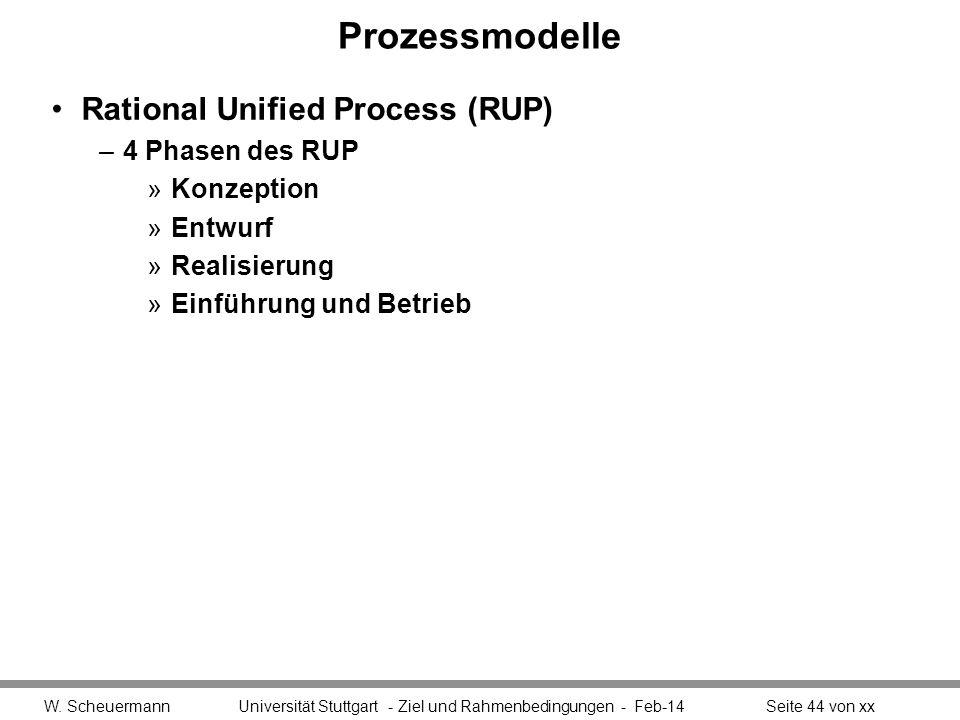 Prozessmodelle Rational Unified Process (RUP) –4 Phasen des RUP »Konzeption »Entwurf »Realisierung »Einführung und Betrieb W. Scheuermann Universität