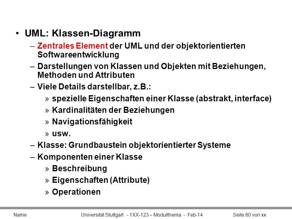 UML: Klassen-Diagramm –Zentrales Element der UML und der objektorientierten Softwareentwicklung –Darstellungen von Klassen und Objekten mit Beziehunge