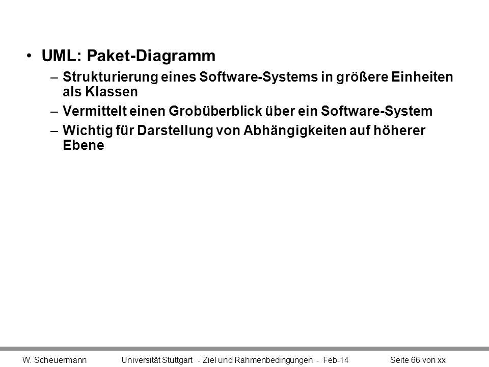 UML: Paket-Diagramm –Strukturierung eines Software-Systems in größere Einheiten als Klassen –Vermittelt einen Grobüberblick über ein Software-System –