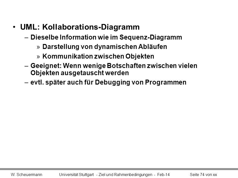 UML: Kollaborations-Diagramm –Dieselbe Information wie im Sequenz-Diagramm »Darstellung von dynamischen Abläufen »Kommunikation zwischen Objekten –Gee