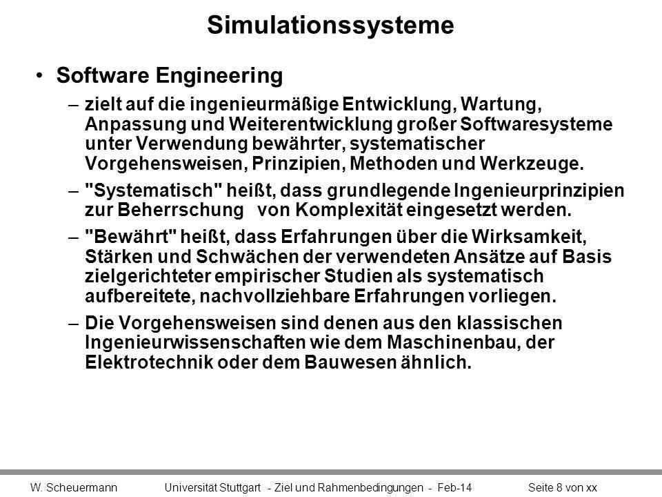 Simulationssysteme Software Engineering –zielt auf die ingenieurmäßige Entwicklung, Wartung, Anpassung und Weiterentwicklung großer Softwaresysteme un