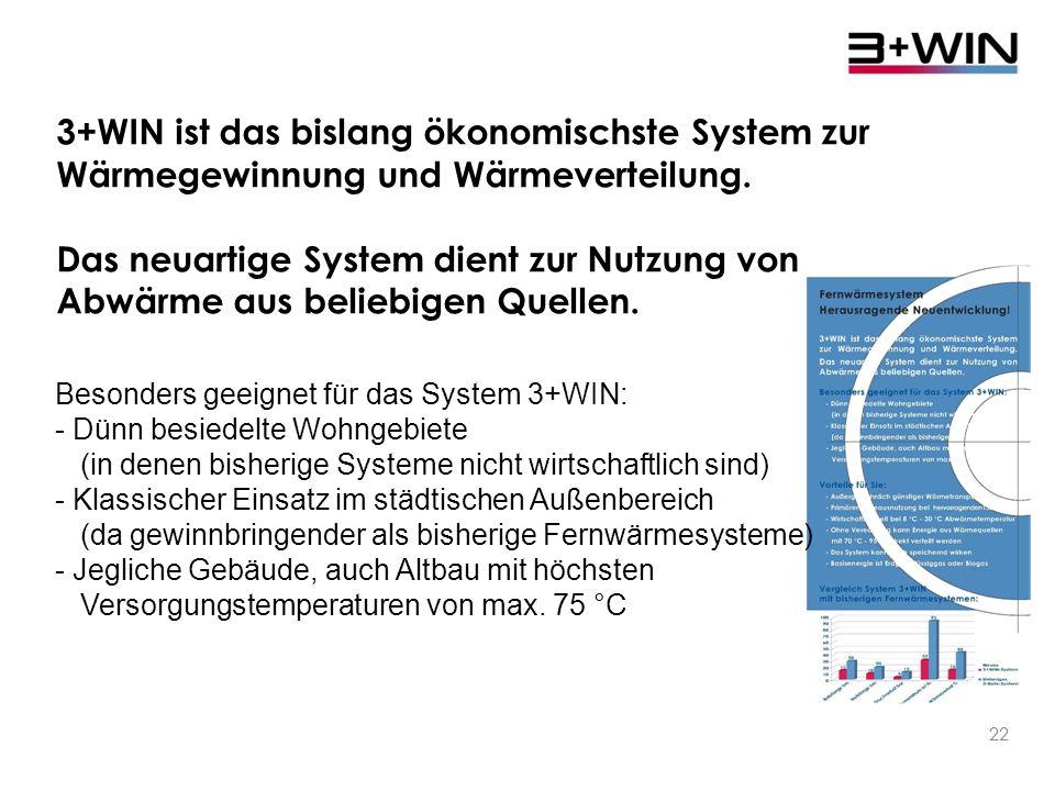 21 Die Vorteile des Systems: - Außergewöhnlich günstiger Wärmetransport - Primärenergieausnutzung bei hervorragenden 150 % - 250 % - Wirtschaftlichkeit bei 8 °C - 30 °C Abwärmetemperatur - Ohne Veredelung kann Energie aus Wärmequellen mit 70 °C - 95 °C direkt verteilt werden - Das System kann auch speichernd wirken Großer Nutzen für die Energiewende - Basisenergie ist Erdgas, Flüssiggas oder Biogas