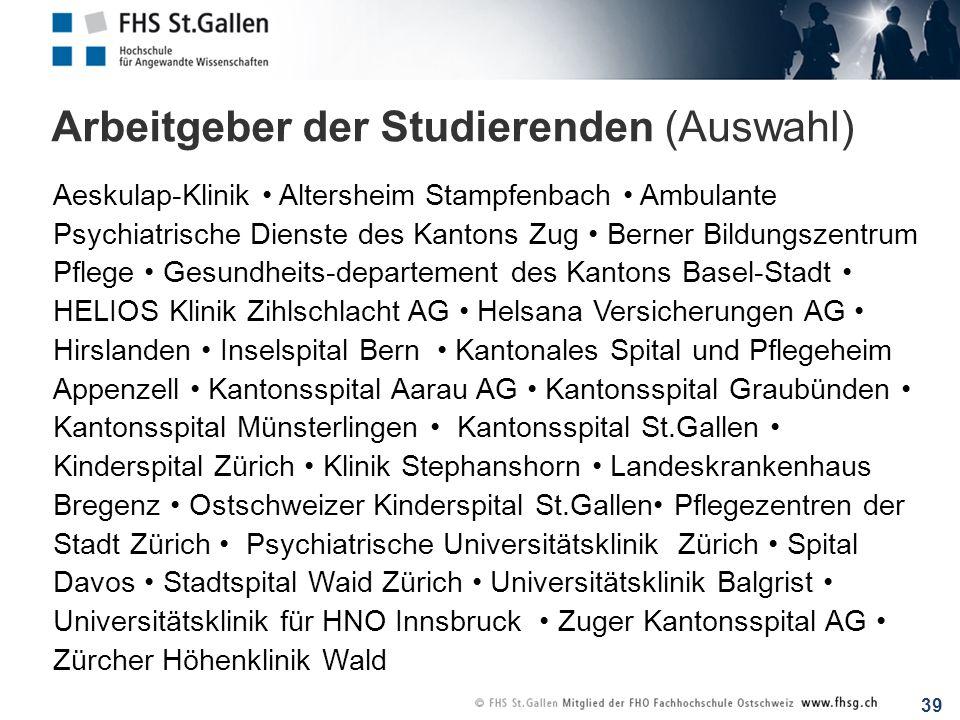 39 Arbeitgeber der Studierenden (Auswahl) Aeskulap-Klinik Altersheim Stampfenbach Ambulante Psychiatrische Dienste des Kantons Zug Berner Bildungszent