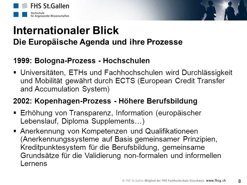 8 Internationaler Blick Die Europäische Agenda und ihre Prozesse 1999: Bologna-Prozess - Hochschulen Universitäten, ETHs und Fachhochschulen wird Durc