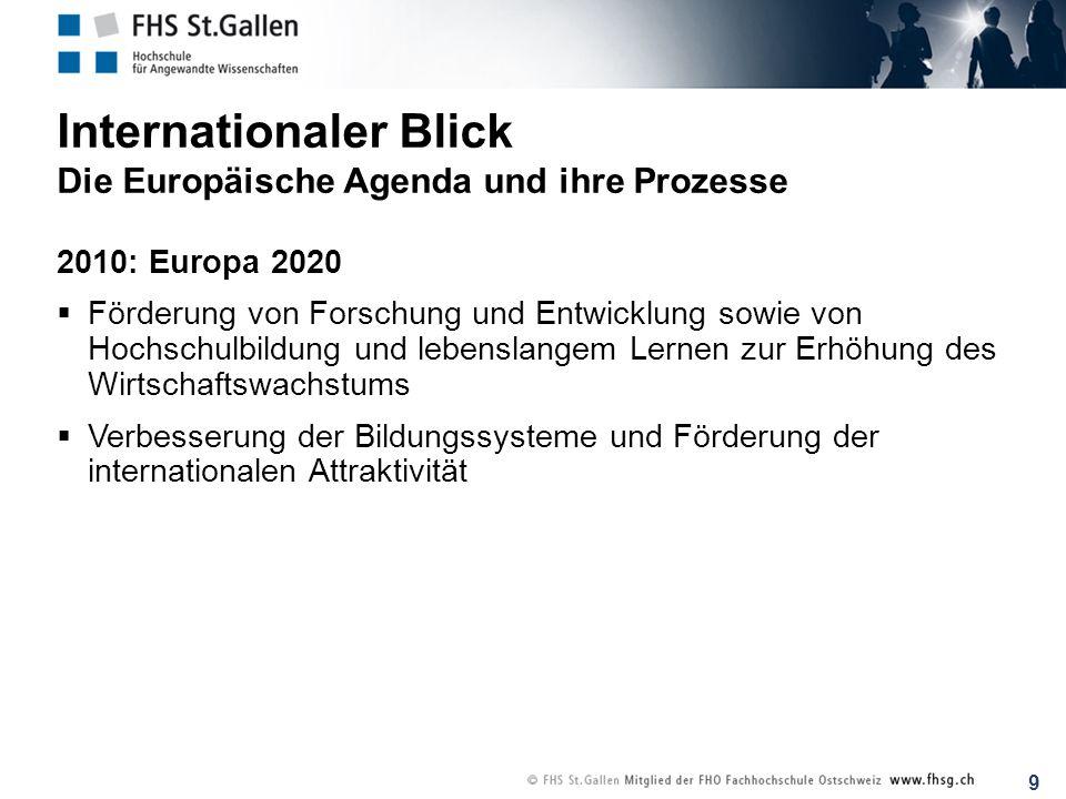 9 Internationaler Blick Die Europäische Agenda und ihre Prozesse 2010: Europa 2020 Förderung von Forschung und Entwicklung sowie von Hochschulbildung