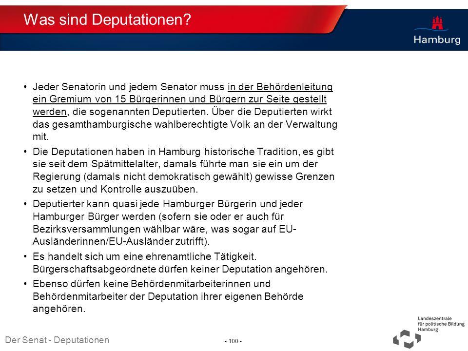Absender Was sind Deputationen? Jeder Senatorin und jedem Senator muss in der Behördenleitung ein Gremium von 15 Bürgerinnen und Bürgern zur Seite ges