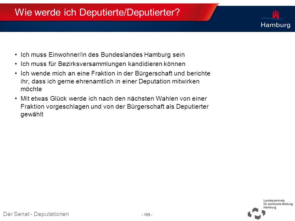 Absender Wie werde ich Deputierte/Deputierter? Ich muss Einwohner/in des Bundeslandes Hamburg sein Ich muss für Bezirksversammlungen kandidieren könne