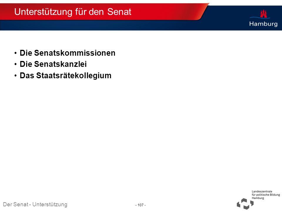 Absender Unterstützung für den Senat Die Senatskommissionen Die Senatskanzlei Das Staatsrätekollegium Thema TT.MM.JJJJ Der Senat - Unterstützung - 107