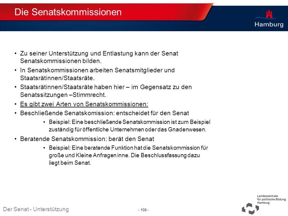 Absender Die Senatskommissionen Zu seiner Unterstützung und Entlastung kann der Senat Senatskommissionen bilden. In Senatskommissionen arbeiten Senats
