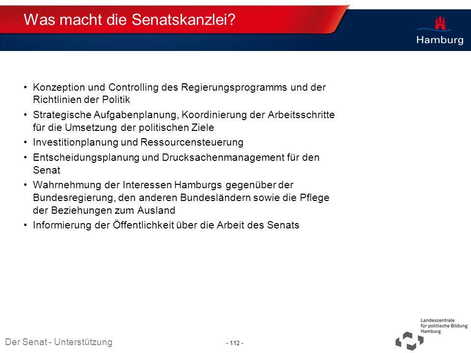 Absender Was macht die Senatskanzlei? Konzeption und Controlling des Regierungsprogramms und der Richtlinien der Politik Strategische Aufgabenplanung,