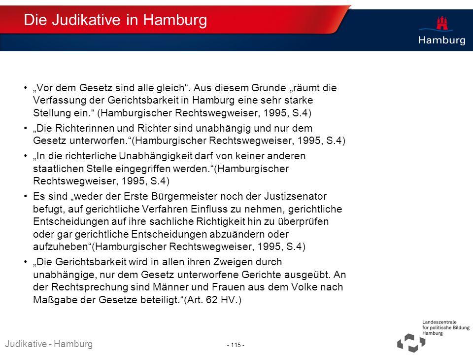 Absender Die Judikative in Hamburg Vor dem Gesetz sind alle gleich. Aus diesem Grunde räumt die Verfassung der Gerichtsbarkeit in Hamburg eine sehr st