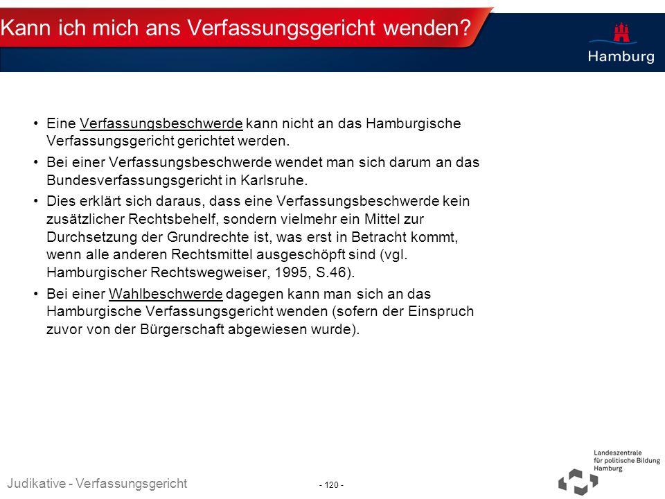 Absender Kann ich mich ans Verfassungsgericht wenden? Eine Verfassungsbeschwerde kann nicht an das Hamburgische Verfassungsgericht gerichtet werden. B
