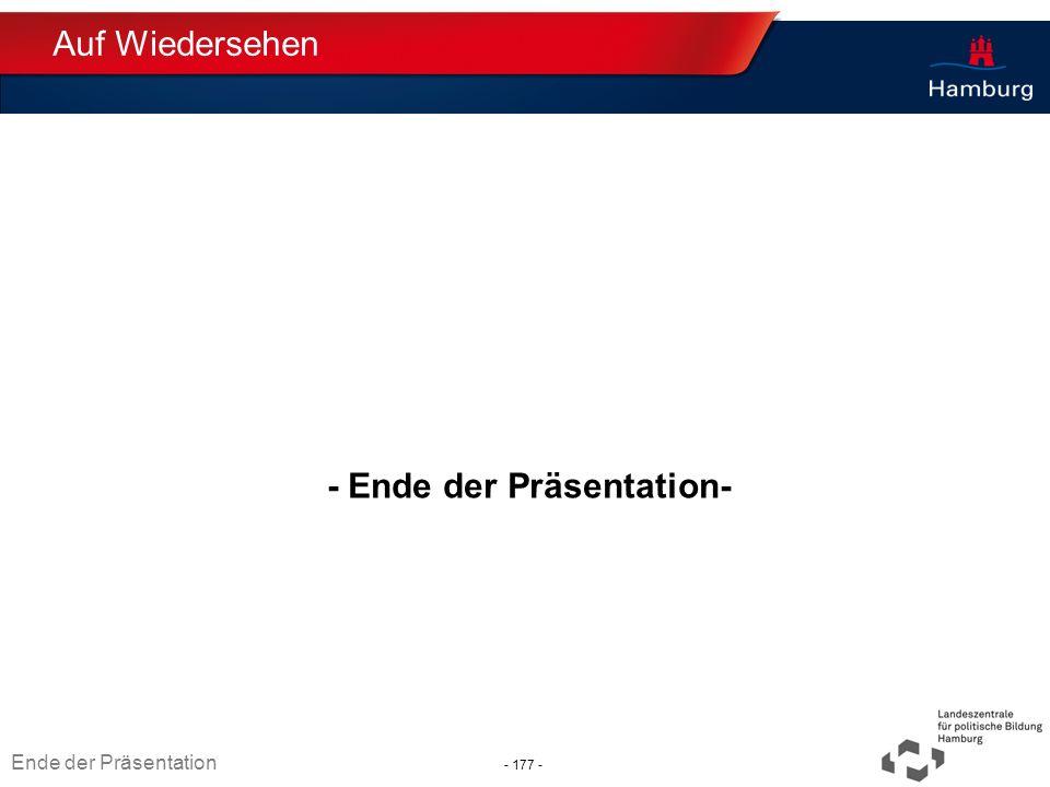 Absender - Ende der Präsentation- Thema TT.MM.JJJJ Ende der Präsentation - 177 - Auf Wiedersehen