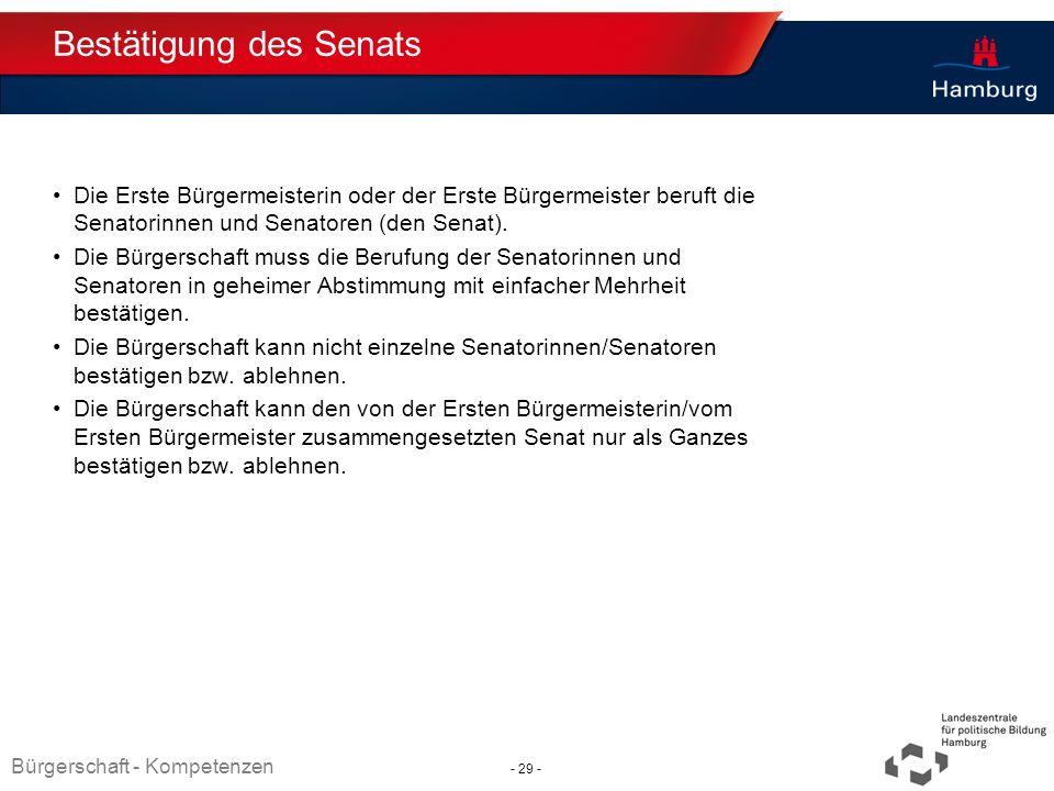Absender Bestätigung des Senats Die Erste Bürgermeisterin oder der Erste Bürgermeister beruft die Senatorinnen und Senatoren (den Senat). Die Bürgersc