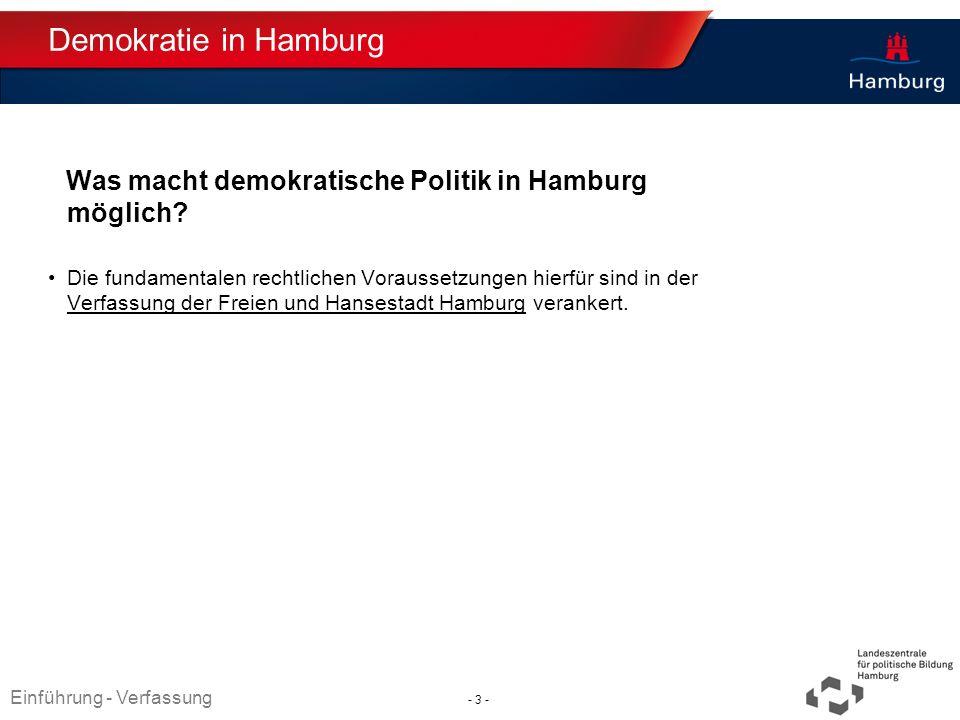 Absender Demokratie in Hamburg Was macht demokratische Politik in Hamburg möglich? Die fundamentalen rechtlichen Voraussetzungen hierfür sind in der V