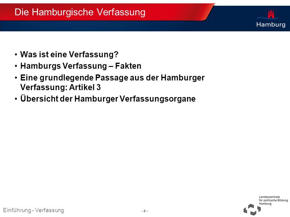 Absender Die Hamburgische Verfassung Was ist eine Verfassung? Hamburgs Verfassung – Fakten Eine grundlegende Passage aus der Hamburger Verfassung: Art