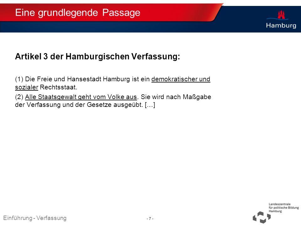 Absender Eine grundlegende Passage Artikel 3 der Hamburgischen Verfassung: (1) Die Freie und Hansestadt Hamburg ist ein demokratischer und sozialer Re