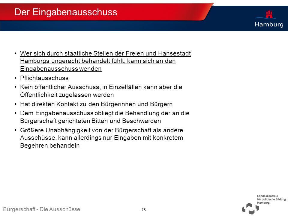 Absender Der Eingabenausschuss Wer sich durch staatliche Stellen der Freien und Hansestadt Hamburgs ungerecht behandelt fühlt, kann sich an den Eingab