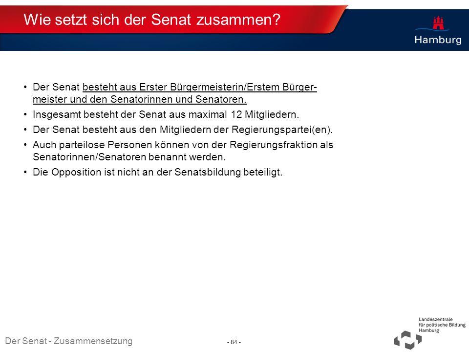 Absender Wie setzt sich der Senat zusammen? Der Senat besteht aus Erster Bürgermeisterin/Erstem Bürger- meister und den Senatorinnen und Senatoren. In