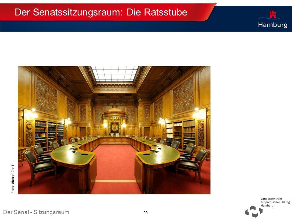 Absender Der Senatssitzungsraum: Die Ratsstube Thema TT.MM.JJJJ Foto: Michael Zapf Der Senat - Sitzungsraum - 93 -