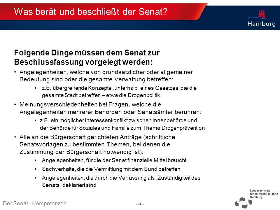 Absender Was berät und beschließt der Senat? Folgende Dinge müssen dem Senat zur Beschlussfassung vorgelegt werden: Angelegenheiten, welche von grunds