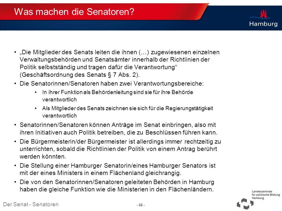 Absender Was machen die Senatoren? Die Mitglieder des Senats leiten die ihnen (…) zugewiesenen einzelnen Verwaltungsbehörden und Senatsämter innerhalb