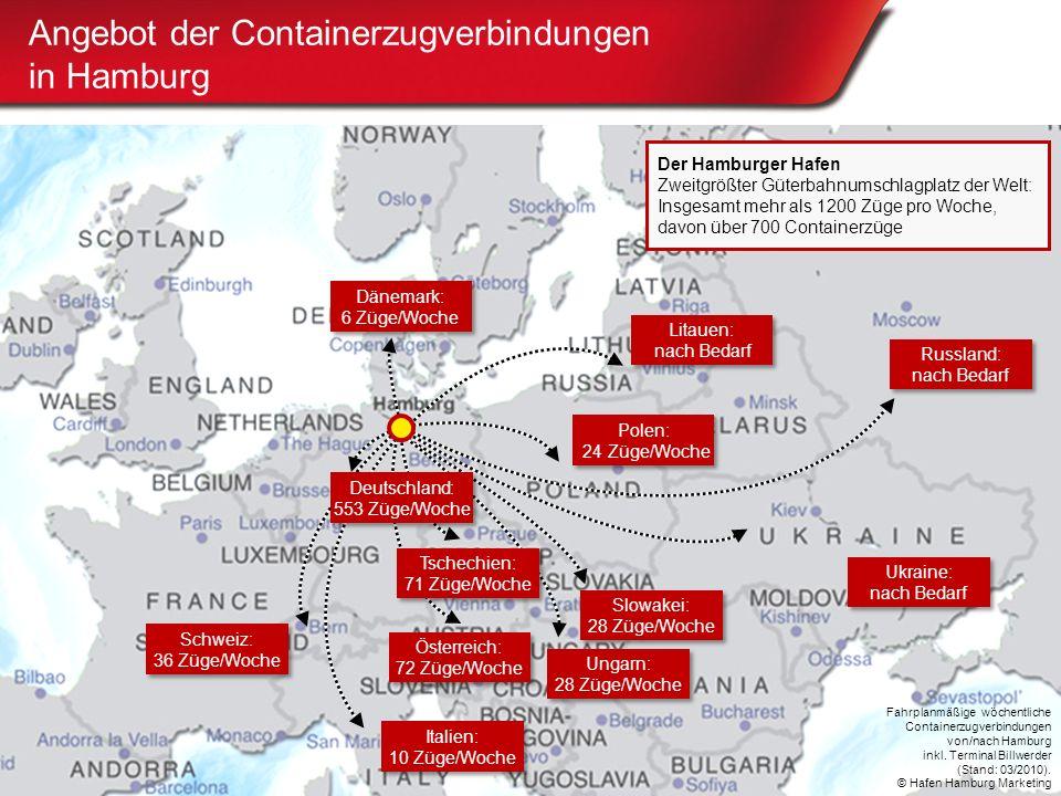 Hafen Hamburg www.portofhamburg.com Angebot der Containerzugverbindungen in Hamburg Der Hamburger Hafen Zweitgrößter Güterbahnumschlagplatz der Welt:
