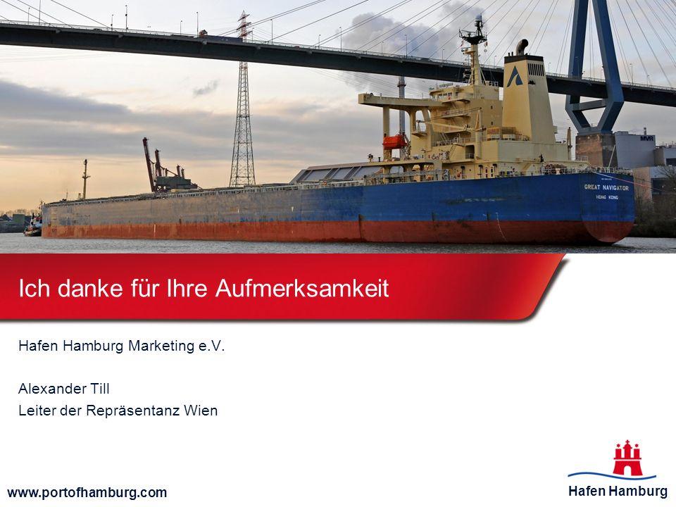 Hafen Hamburg www.portofhamburg.com Ich danke für Ihre Aufmerksamkeit Hafen Hamburg Marketing e.V. Alexander Till Leiter der Repräsentanz Wien