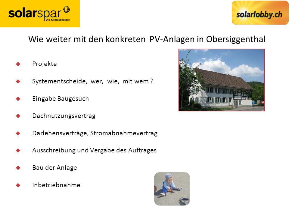 Wie weiter mit den konkreten PV-Anlagen in Obersiggenthal u Projekte u Systementscheide, wer, wie, mit wem .