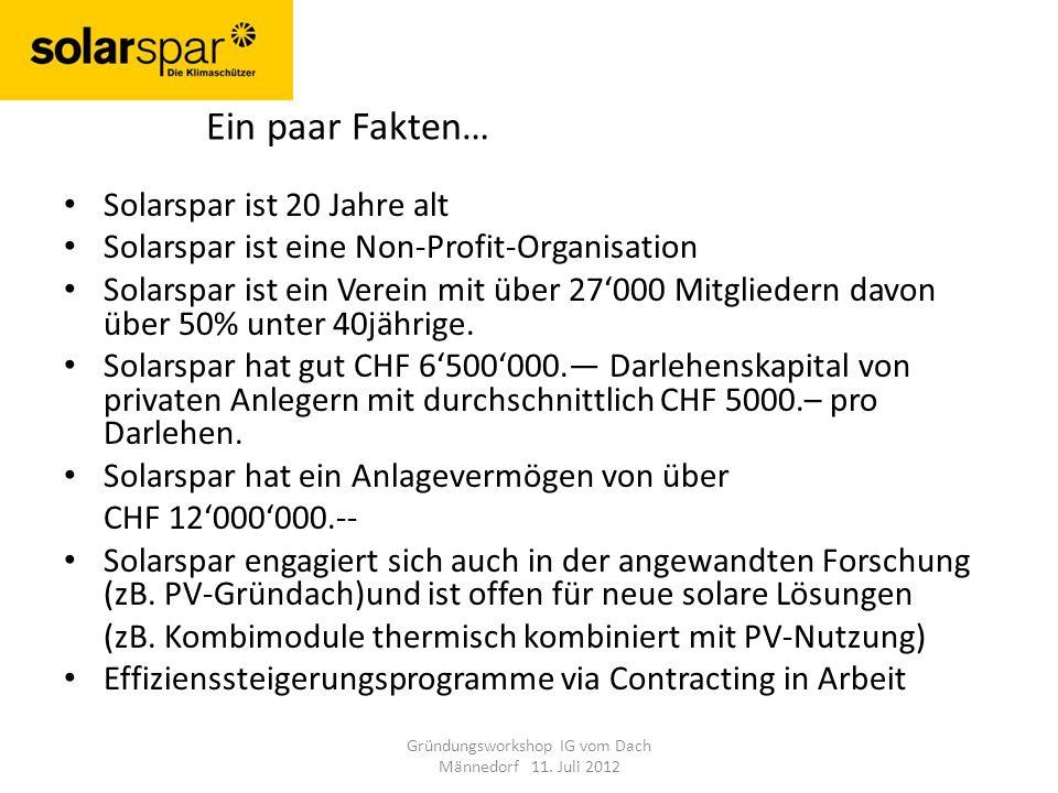 Solarspar ist 20 Jahre alt Solarspar ist eine Non-Profit-Organisation Solarspar ist ein Verein mit über 27000 Mitgliedern davon über 50% unter 40jährige.