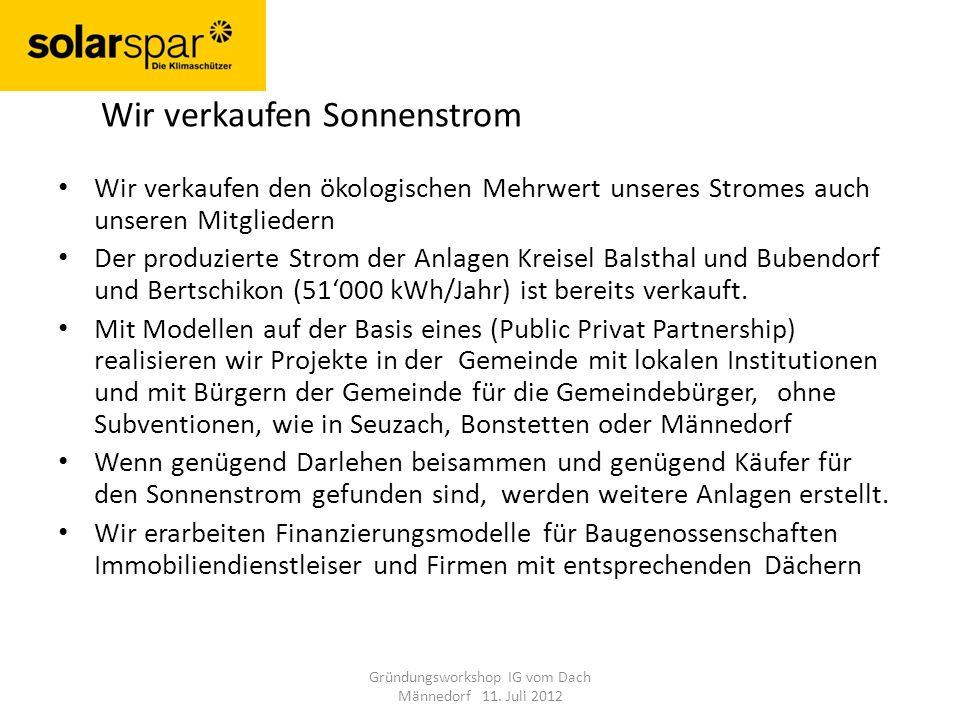 Wir verkaufen den ökologischen Mehrwert unseres Stromes auch unseren Mitgliedern Der produzierte Strom der Anlagen Kreisel Balsthal und Bubendorf und