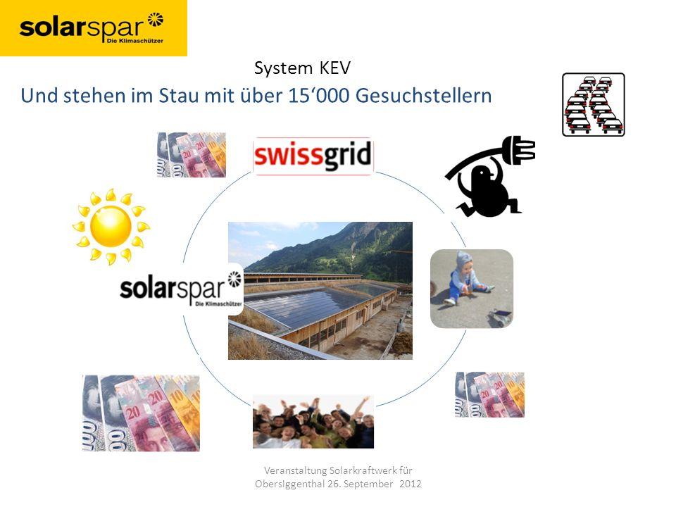System KEV Und stehen im Stau mit über 15000 Gesuchstellern Veranstaltung Solarkraftwerk für Obersiggenthal 26.