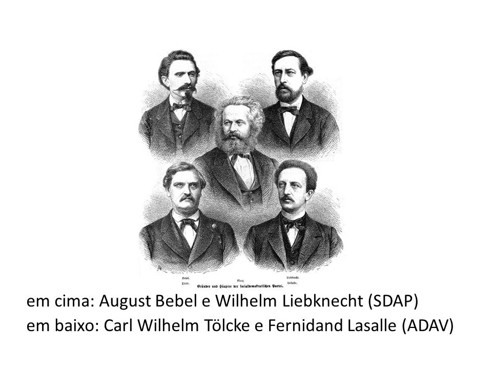 em cima: August Bebel e Wilhelm Liebknecht (SDAP) em baixo: Carl Wilhelm Tölcke e Fernidand Lasalle (ADAV)