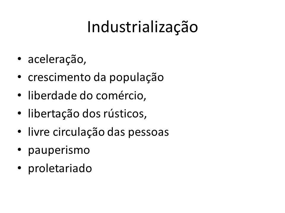 Industrialização aceleração, crescimento da população liberdade do comércio, libertação dos rústicos, livre circulação das pessoas pauperismo proletar