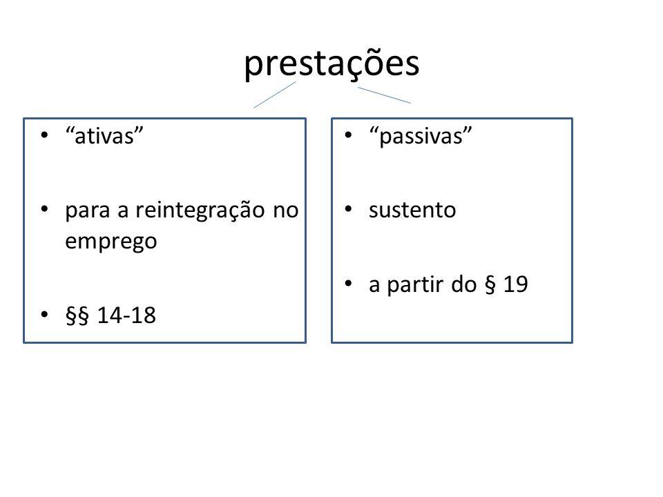 prestações ativas para a reintegração no emprego §§ 14-18 passivas sustento a partir do § 19